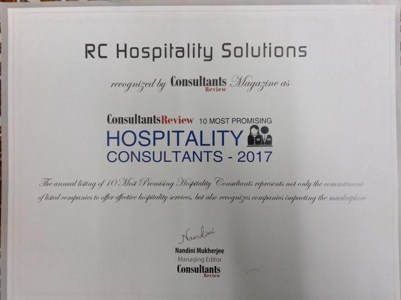 LISTED IN TOP 10 PROMISING HOSPITALITY CONSULTANTS BY CONSULTANT REVIEW MAGAZINE